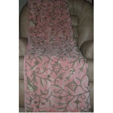Crewel Throw Tree of Life Pink Pine Cotton Velvet