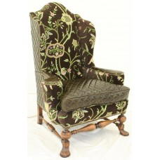 Crewel Lotus Black Nocturn Velvet Upholstered  Wing Chair