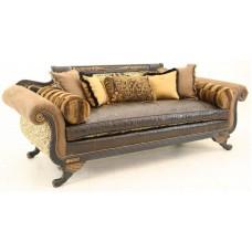 Crewel Bloom Black Cotton Velvet Upholstered Leather Settee