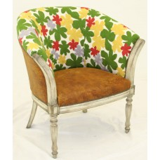 Crewel Poppy Flowers Off White Cotton Upholstered Modern Wing Ch