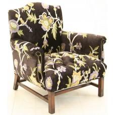 Crewel Shalimar Black Cotton Velvet Upholstered Chair