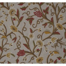Crewel Fabric Angoor Coral Red Green