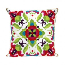 Crewel Pillow Azami Red on White Cotton Duck