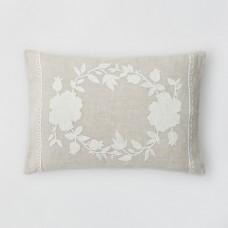 Crewel Pillow Beekman 1802 Stillwater White on Natural Brown Linen