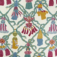 Crewel Fabric Bells Pink and Blue Cotton Duck