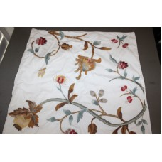 Crewel Pillow Berries and Buds Ivory Cotton Duck