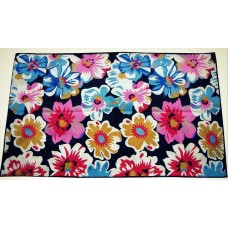 Crewel Rug Big Flowers Multi Chain stitched Wool Rug