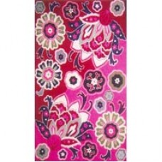 Crewel Rug Big Pink Flowers Chain stitched Wool Rug