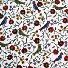 Crewel Fabric Birds Techmal Red and BrownCotton Duck
