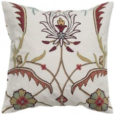 Crewel Pillow Blooming Fields Rust on Off White Coton Duck