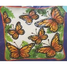 Crewel Pillow Butterflies Rust on Off White Cotton Duck