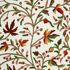Crewel Fabric Chinar Leaves Red and Brown Cotton Duck