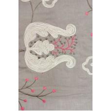Crewel Fabric Contemporary Floral Linen