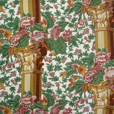 Crewel Fabric Corinthian Pillars Cotton Duck