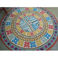Crewel Rug Abstract Round Multi Chain stitched Wool Rug