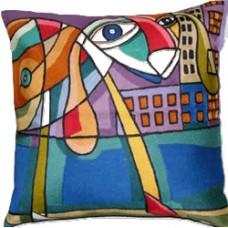 Crewel Chain Stitch Pillow Perro Tonto Multi Cotton Duc
