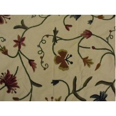 Crewel Fabric Butterfly Cream Cotton Duck