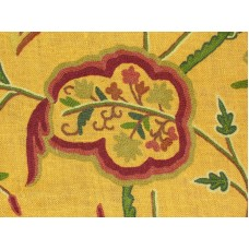 Crewel Fabric Lotus Classic Orange Dyed Jute