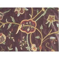 Crewel Fabric Lotus Turkish coffee Cotton Velvet