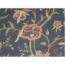 Crewel Fabric Lotus Black Grapes Cotton