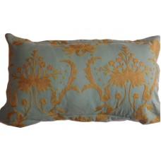 Crewel Pillow Bloom Teal Blue Cotton Duck (20x36)