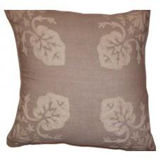 Crewel Pillow Konark Squared White on Natural Brown Linen (18x18
