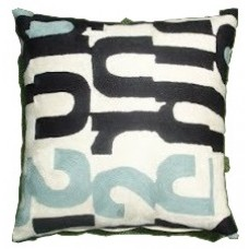 Crewel Pillow 2012 Black and Blue cotton Duck