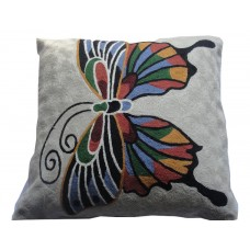 Crewel Pillow Butterfly Multicolor on white Cotton Duck
