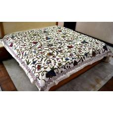 Danzdar Dark Tones Multi Crewel Bed Coverlet