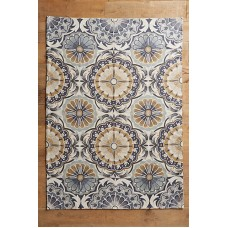 Crewel Rug Festival Neutral Chain stitched Wool Rug