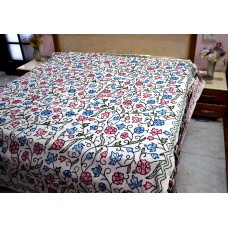 Flowers and Buds Blue and Pink Crewel Bed Coverlet