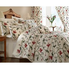 Crewel Bedding Flowers and Vines Pink and Cream Crewel Bed Coverlet