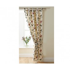 Crewel Drape Flowers and Vines Pink and Cream Cotton Duck