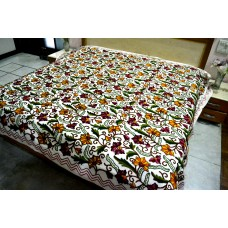 Flowers on Vines Rust and Violet Tones Crewel Bed Coverlet