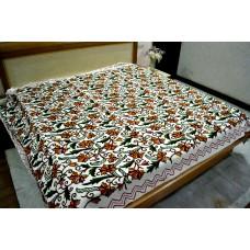 Flowers on Vines Rust Tones Crewel Bed Coverlet