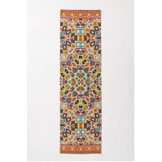 Crewel Rug Flutter Multi Pattern Chain Stitched Wool Runner 2.5x9