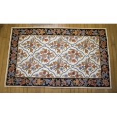 Crewel Rug Floral Vine Links Multi Chain Stitched Wool Rug